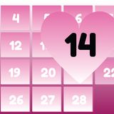 Valentine's Day in calendar Stock Photography