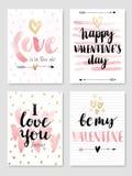 Valentine`s Day Calligraphic Set. Stock Image