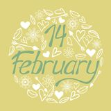 Valentine`s day calligraphy phrase - 14 February. Handwritten modern lettering Stock Photos