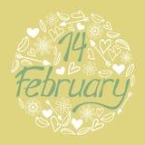 Valentine`s day calligraphy phrase - 14 February. Handwritten modern lettering stock illustration