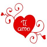 Valentine`s day calligraphy phrase - Ti amo. Handwritten modern lettering royalty free illustration