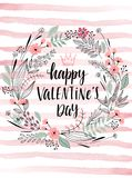 Valentine`s Day Callygraphic Wreath - hand drawn Royalty Free Stock Image