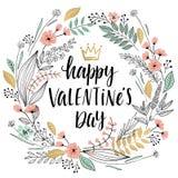 Valentine`s Day Callygraphic Wreath - hand drawn Stock Photo