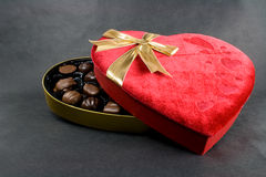 Valentine's day candies. Valentine's day chocolates in a red velvet box stock images