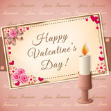 Valentine`s day with candle. Vector illustration scrapbooking congratulation Valentine`s card with candle- eps10 Stock Image