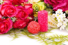 Valentine's day. Candles and colorful roses on white background Stock Images