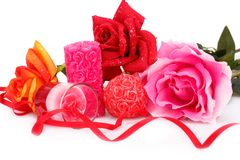 Valentine`s day. Candles and roses  isolated on white background Stock Photography