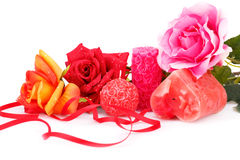 Valentine's day. Candles and roses  isolated on white background Royalty Free Stock Photo