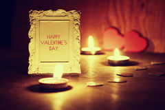 Valentine`s Day candles wine Royalty Free Stock Images