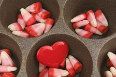 Valentine's Day Candy Corn with Red Heart Royalty Free Stock Image