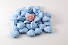 Valentine's Day Candy Hearts - blue and pink Stock Photography