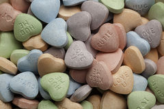 Valentine's Day candy hearts in various colors Royalty Free Stock Photo