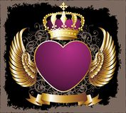 Valentine`s day card. With gold crown Royalty Free Stock Image