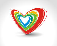 Valentine's day card. Rainbow colorful lines crossing each other on heart shape ,vector illustraton Stock Photo