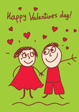 Valentine's day card. Happy young couple celebrates happy valentine's day Royalty Free Stock Images