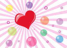 Valentines Day Card. With bubbles, circles and heart Stock Photo