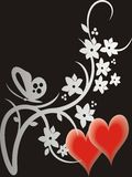 Valentine's day card. Two hearts and flowers on black background Royalty Free Stock Image