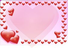 Valentine's day card. Red hearts pink becjground for walentyine day Stock Photography