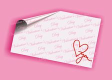 Valentine's day card. Pink valentine's day card with i love you text Stock Photography