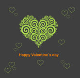 Valentine`s day card. Vector illustration stylized green heart on dark grey background. Design of Dreamstime heart for Valentine`s day Stock Image