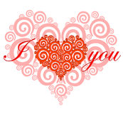 VALENTINE`S DAY CARD. Vector illustration stylized red heart. Design of Dreamstime heart for Valentine`s day Royalty Free Stock Image
