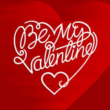 Valentine`s day card. Be My Valentine hand drawn lettering in a heart shape. Royalty Free Stock Images