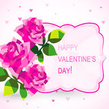 Valentine's day card with beautiful flowers Stock Images