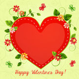 Valentine's day card with beautiful flowers stock illustration