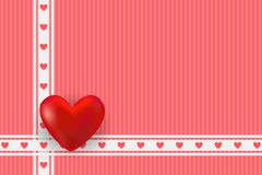 Valentine`s day card. Red hearts and golden frame with space for text. Valentine`s day card. Big red heart and ribbons with little pink hearts. Vector Royalty Free Stock Image