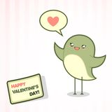 Valentine's Day card with the bird Royalty Free Stock Photography