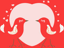Valentine's day card with birds and heart Stock Photography