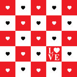 Valentine's Day card. With Black and White Hearts on white and red squares Chessboard vector illustration