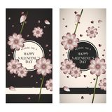 Valentine`s day card black and white. Illustration pink flower on black and white background Stock Photo