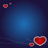 Valentine's Day Card. Blue Valentine's Day card background with Hearts Royalty Free Stock Images