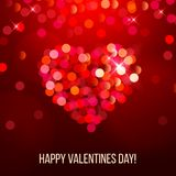 Valentine's day card with bokeh heart Royalty Free Stock Images