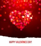Valentine's day card with bokeh heart Stock Images