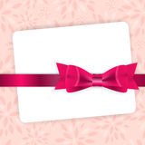 Valentine`s Day Card with Bow and Ribbon Vector Stock Images