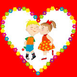 Valentine's Day card with boy and girl kissing Royalty Free Stock Image