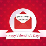 Valentine's day card on a bright red background with hearts. Happy Valentine's Day text on a ribbon. Love letter. Stock Photo