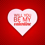 Valentine's day card on a bright red background with Will You Be My Valentine text. Vector illustration.  Royalty Free Stock Images