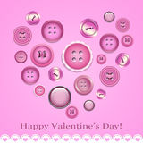 Valentine's day card with buttons Stock Photography