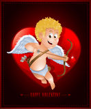 Valentine's Day card with cartoon cupid Stock Images