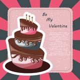 Valentine`s Day card. Colorful cake with text. Flat vector illustration Royalty Free Stock Photos