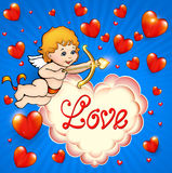 Valentine's Day card with cupid and hearts Stock Photos