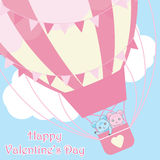 Valentine`s Day card with cute bears in hot air balloon on the sky Stock Photos