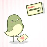 Valentine's Day card with cute bird Stock Photography