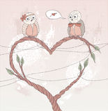 Valentine's day card. Cute bird in love. stock illustration