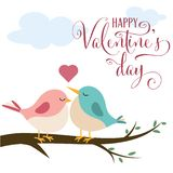 Valentine`s day card with cute birds in love vector illustration