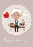 Valentine's day card with a cute boy. Vector waiting boy with a gift and red heart balloon Stock Photo