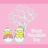 Valentine`s day card with cute chicks bring love balloons on pink background Royalty Free Stock Images